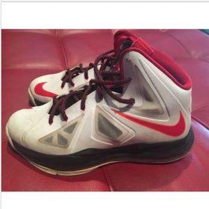 Nike Lebron Elite X 10 White Red orange 5.5y